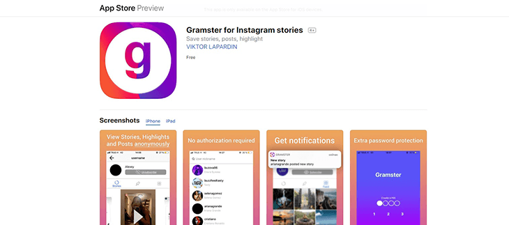 Gramster for Instagram stories